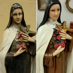 restoration of plaster Catholic statue